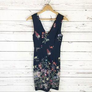 Sabie Navy Floral Sheath Dress Size Medium